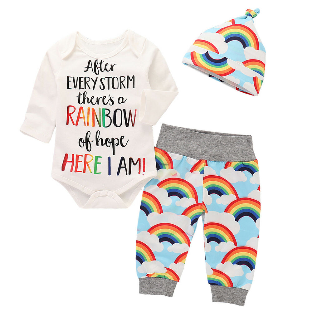 bece93dddfd Details about Newborn Baby Girl Boy Rainbow Romper Tops Jumpsuit+Pants Hat Outfits  Clothes Set