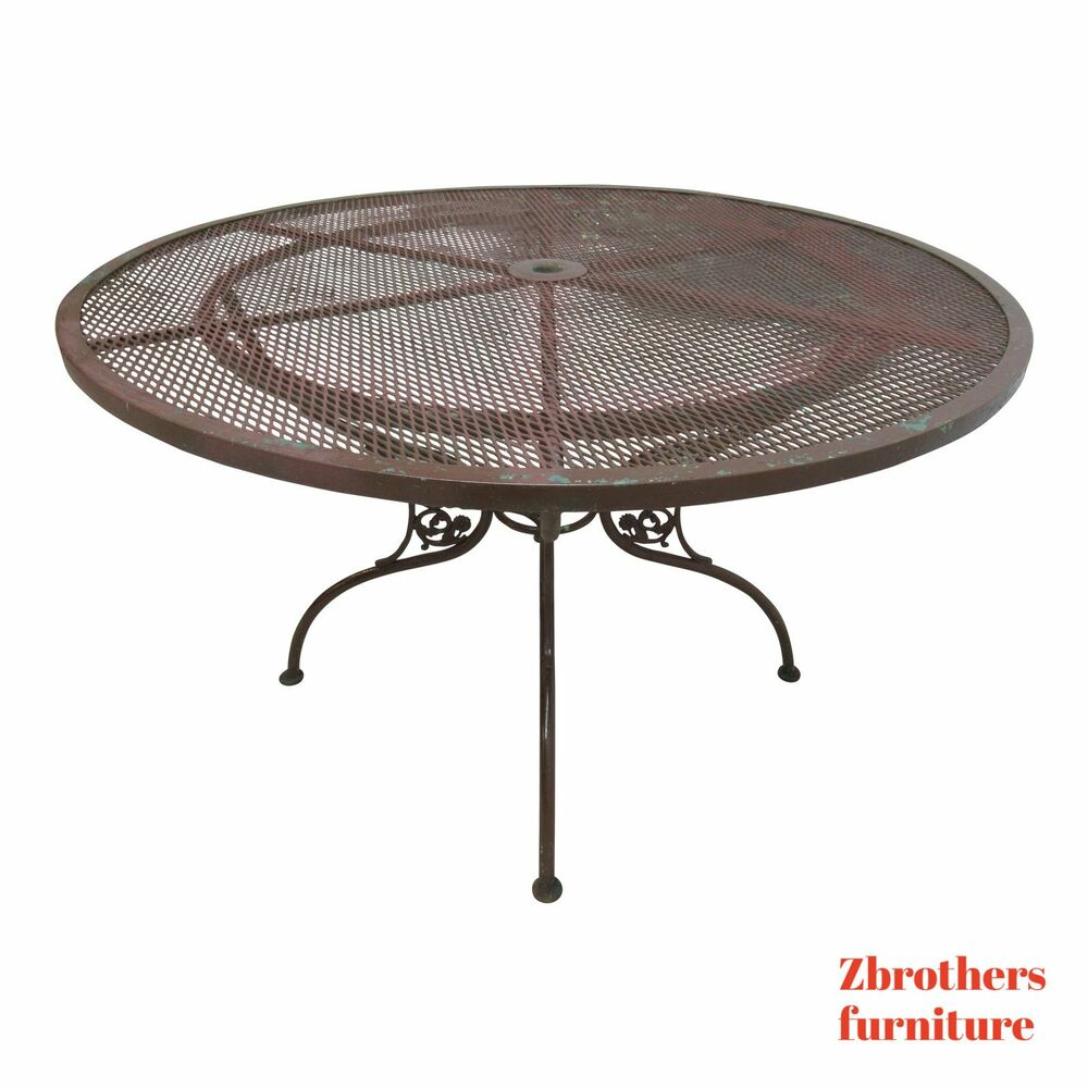Details About Vintage Woodard Daisy Round Mesh Patio Dining Table Porch