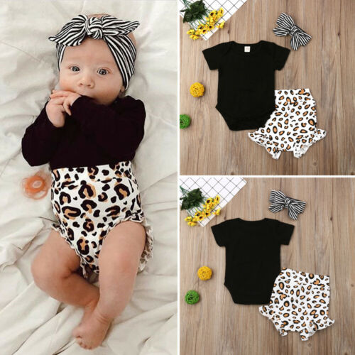 UK Toddler Kids Baby Girl Infant Clothes Romper Tops Leopard Print Pants Outfits
