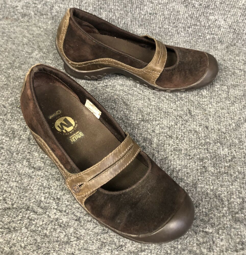 4c42d655e9 Details about Womens Merrell Plaza Bandeau Chocolate Brown Suede Mary Jane Comfort  Shoe Sz 6.5