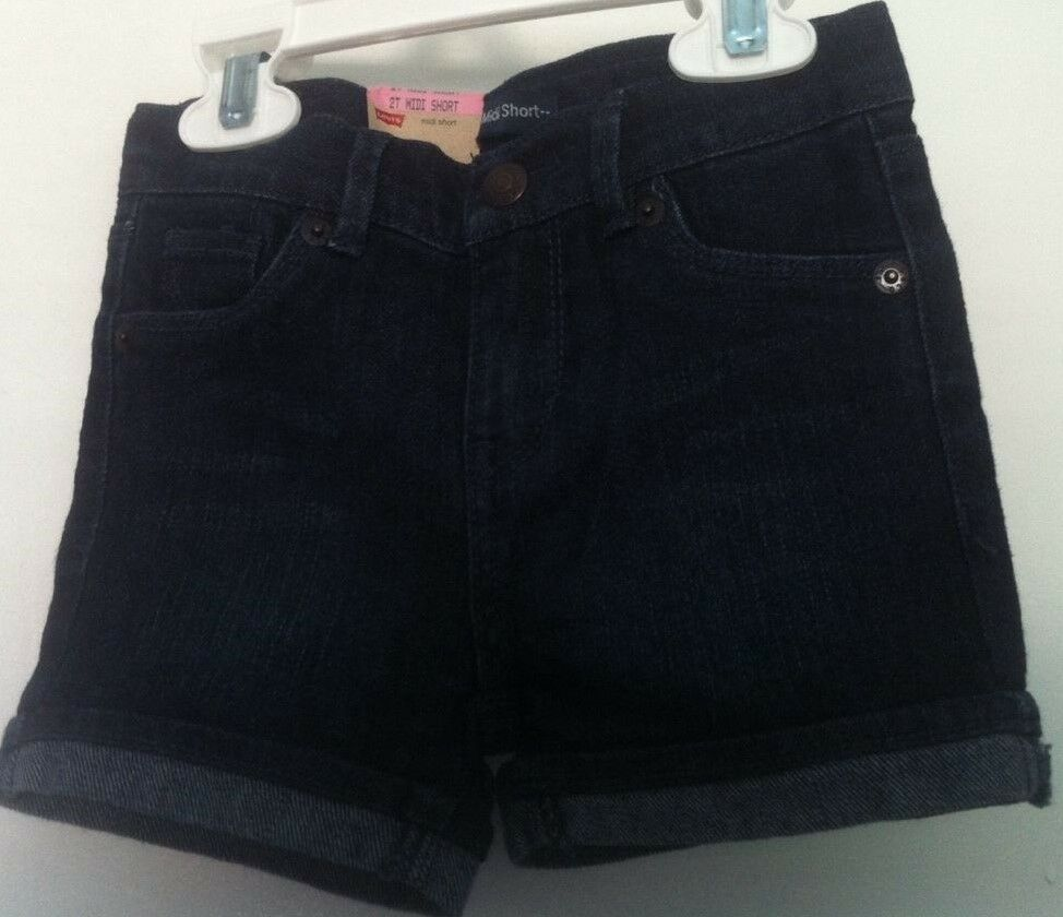 04c1c96f1e Details about Levi's Girls Shorts Blue Denim 5 Pockets Turned Up Hem Midi  Short Size 2T~NWT