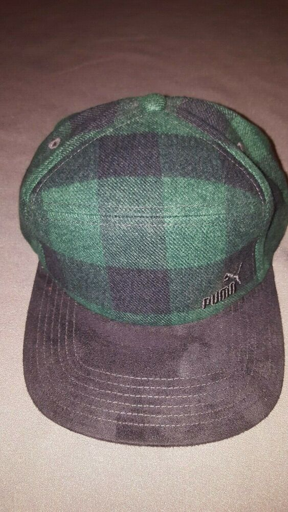 e1dacad51bbd5 Details about PUMA HUNT 5 PANEL CAP STRAPBACK HAT MENS GREEN PLAID FLANNEL  NEW WITH TAGS