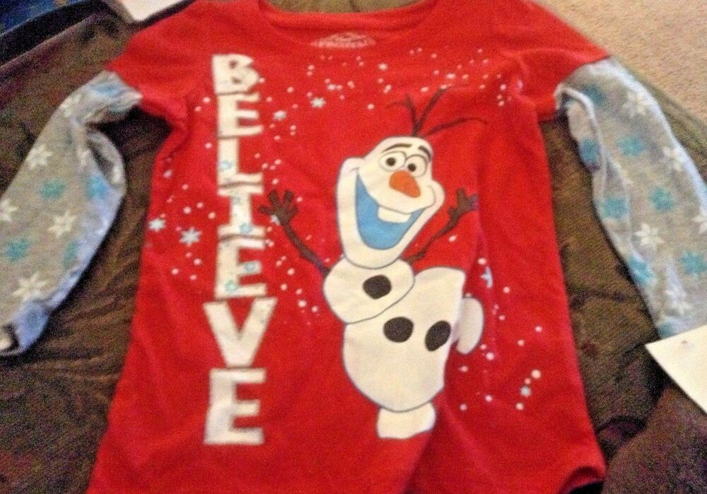 90b643a8b81b Details about Girls Disney Frozen Olaf BELIEVE T-Shirt Top sz 2t or 3T new  nwt long sleeve
