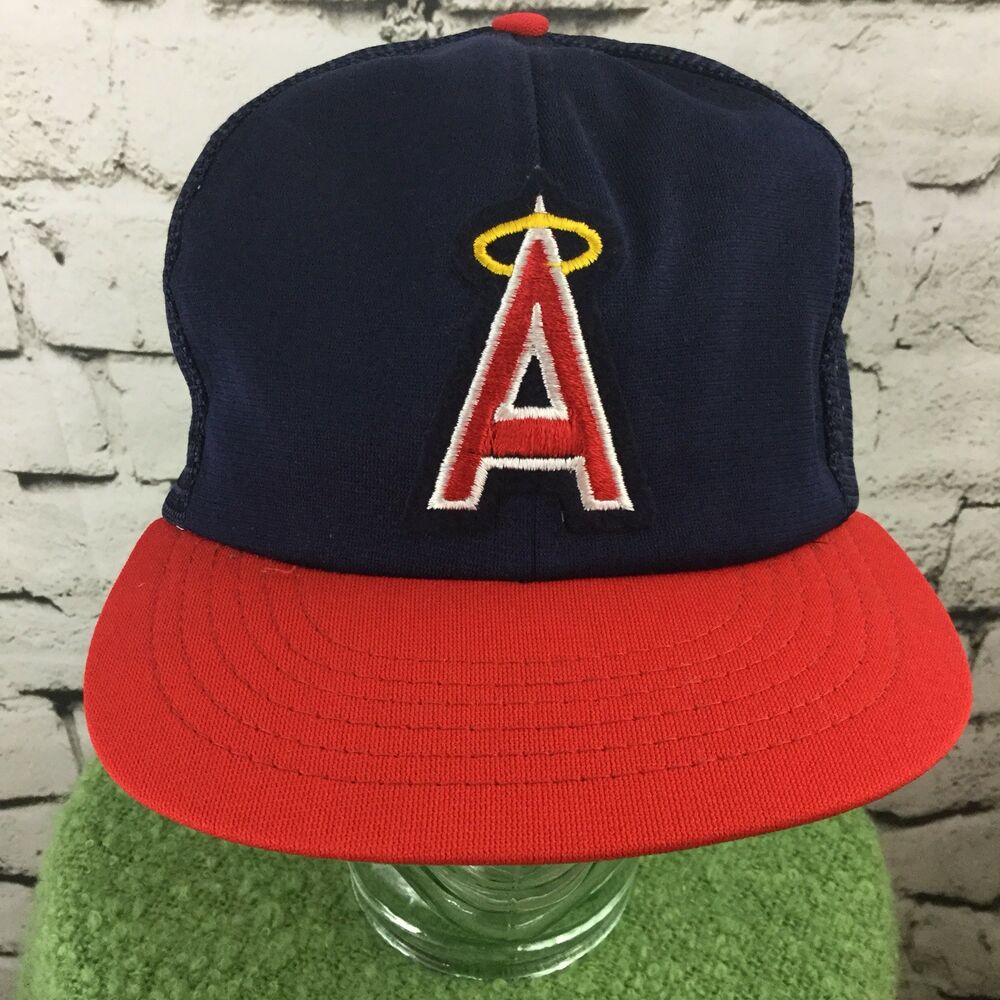 20cb2cece Anaheim Angels Ball Cap Hat Vintage SnapBack Mesh Red Blue MLB | eBay