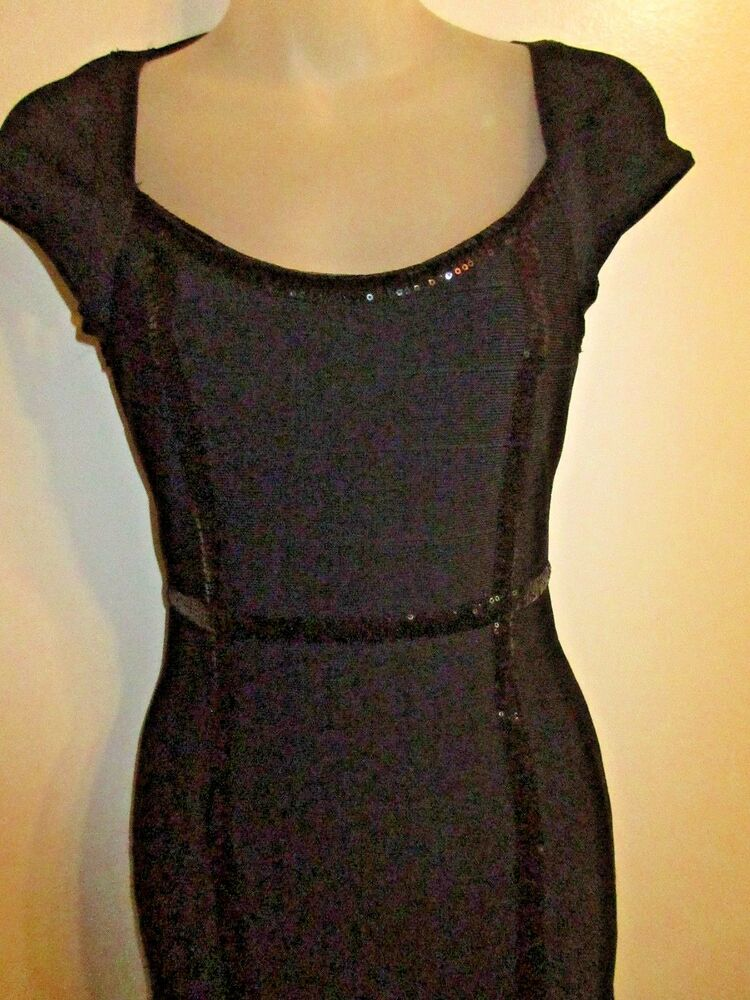 8e12203c Details about Guess S Bodycon Bandage Dress Black Sequin Open Back Keyhole  Cocktail Party Sexy