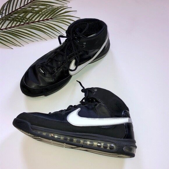 cheap for discount 66585 c818e Details about Nike Airmax Men s High Top Basketball Shoes Black and White Size  13.5