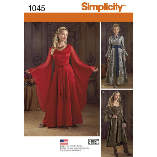 7488c5a46f8 Details about S 1045 Game of Thrones Melisandre medieval dress gown costume  pattern 14-20 NIP