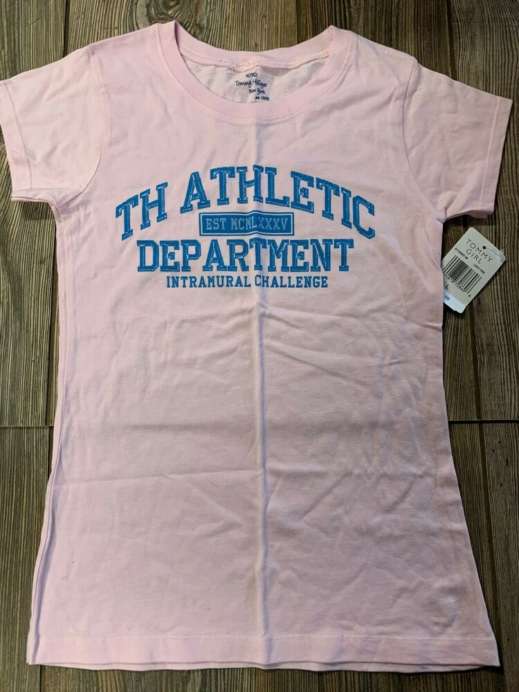 51e8f2305 Details about NWT Girls Tommy Hilfiger Light Pink Short Sleeve 100% Cotton  Logo Shirt Large 14
