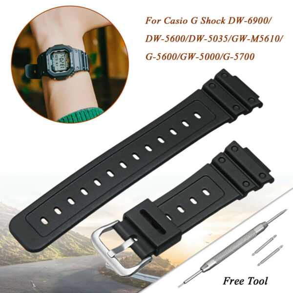 Watch Strap for Casio G-Shock 16mm Replace Band Rubber DW-6900 DW-5600 GW-M5610