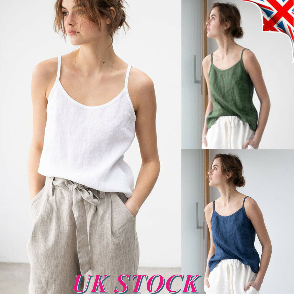 3f9ab25bf2a Details about Womens Cotton Linen Tank Tops Camisole Ladies Summer Loose  Cami Vest T Shirt UK