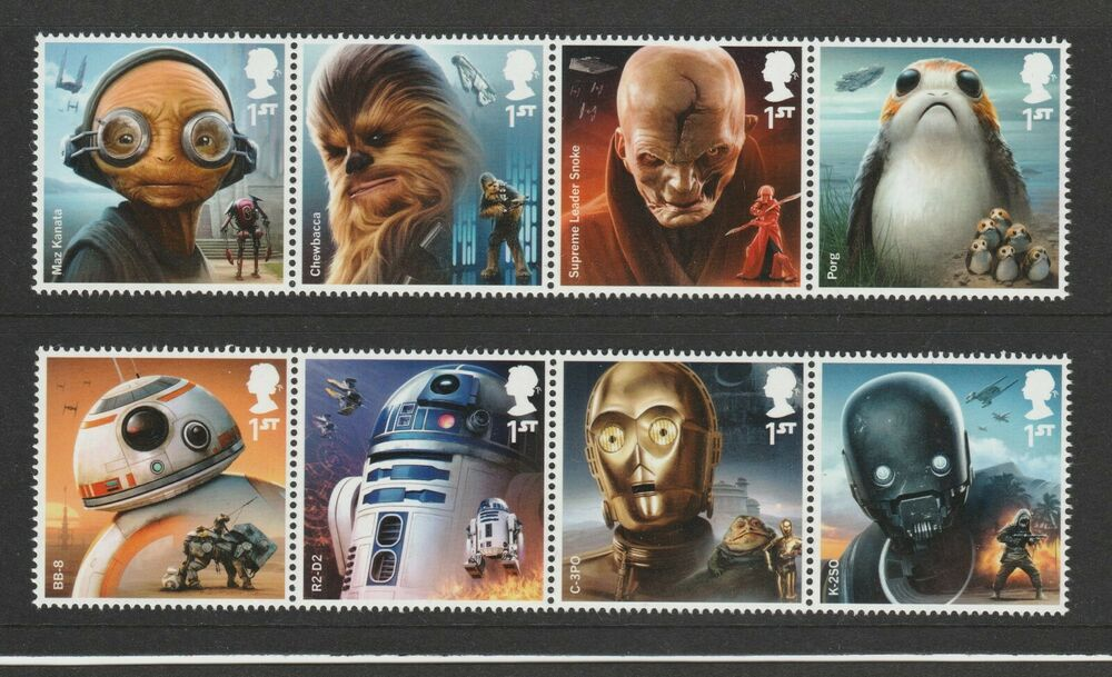 Gb 2017 Star Wars Characters Stamps Sg 4007 4014 Mnh Ebay
