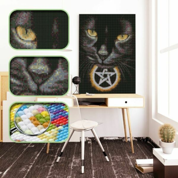 Black Cat DIY 5D Full Drill Square Diamond Painting Cross Stitch Embroidery