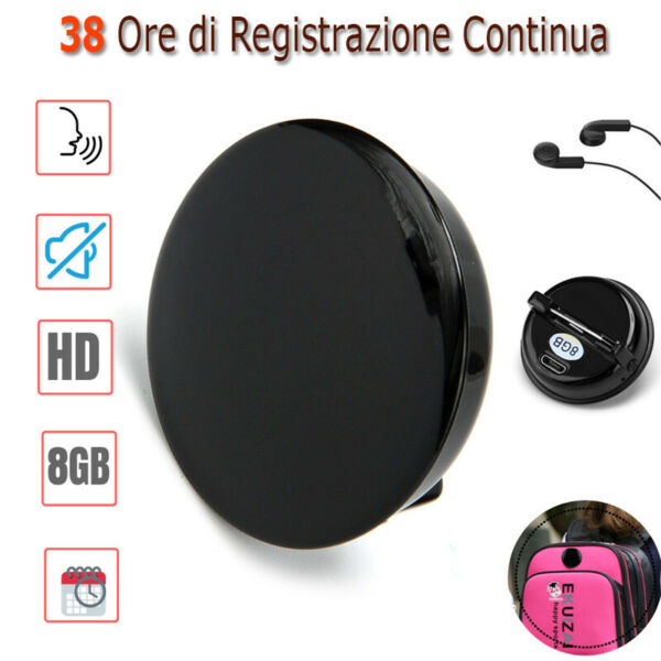 Mini Micro Registratore Vocale Spia Digitale Sound Attivato Spilla USB MP3