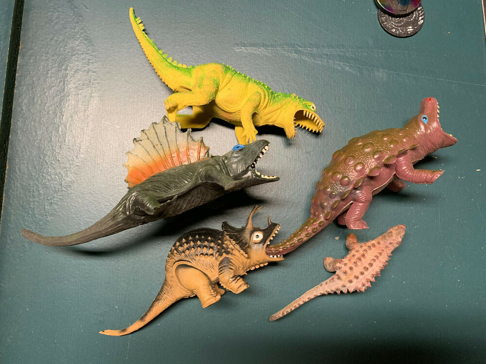 Lot of 5 Vintage 80s Large Toy Dinosaurs Rubber ...