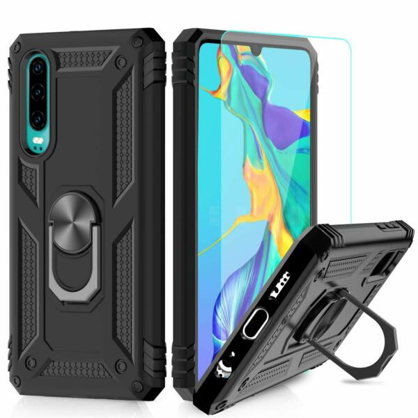 HUAWEI P30 COQUE + VITRE VERRE housse etui silicone support integré TPU