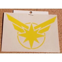 Awesome Handcrafted Captain Marvel Logo Yellow Vinyl Decal Indoor/Outdoor NEW 5''