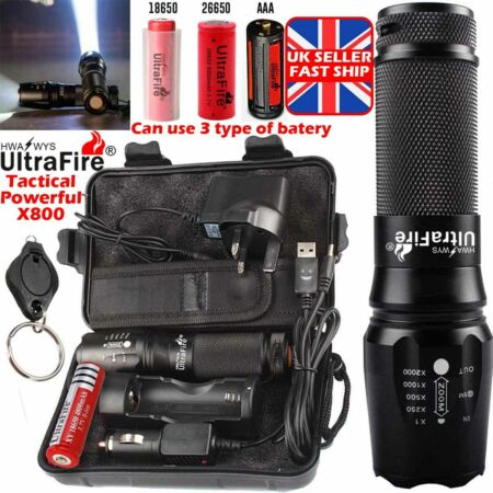 img-100000lm CREE LED T6 Tactical Ultrafire X800 Flashlight Zoomable Military Torch