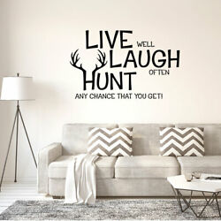 Live laugh Hunt Text Pattern Wall Stickers Removable Decal for Home Living Room