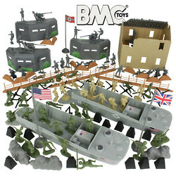 BMC WW2 D-DAY Plastic Army Men NORMANDY 114pc Soldier Figure 1:32 54mm Playset