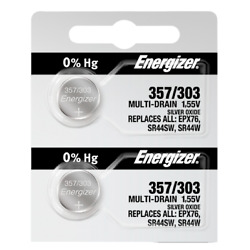 Energizer 357/303 Silver Oxide Coin Cell Batteries 2 Pack Tear Strip(new)