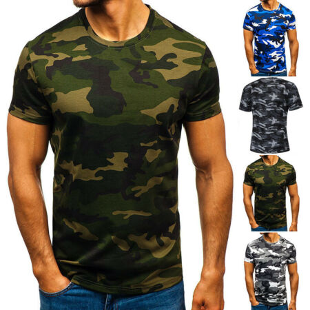 img-Mens Camouflage Camo T Shirt Military Summer Army Combat Beach Tops Tee Shirt