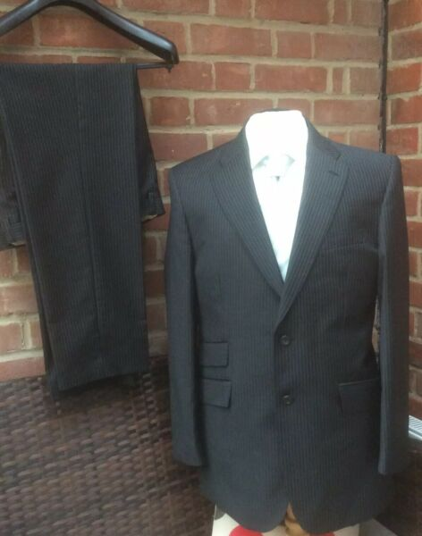 MARKS & SPENCER TIMOTHY EVEREST CHARCOAL PINSTRIPE SARTORIAL SUIT - 40R W32 L31