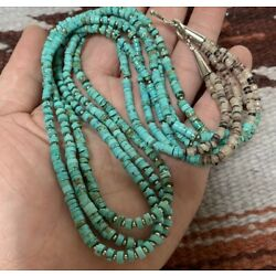 Gorgeous three-strands  turquoise heishi necklace/22