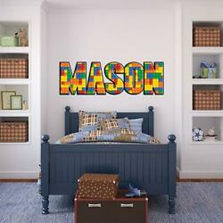 Lego Bricks PERSONALIZED NAME Decal WALL STICKER Home Decor Art Mural Kids WP08