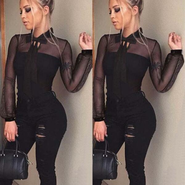 Womens Transparent Shirt Bodycon Long Sleeve Jumpsuit Leotard Tops Blouse FR