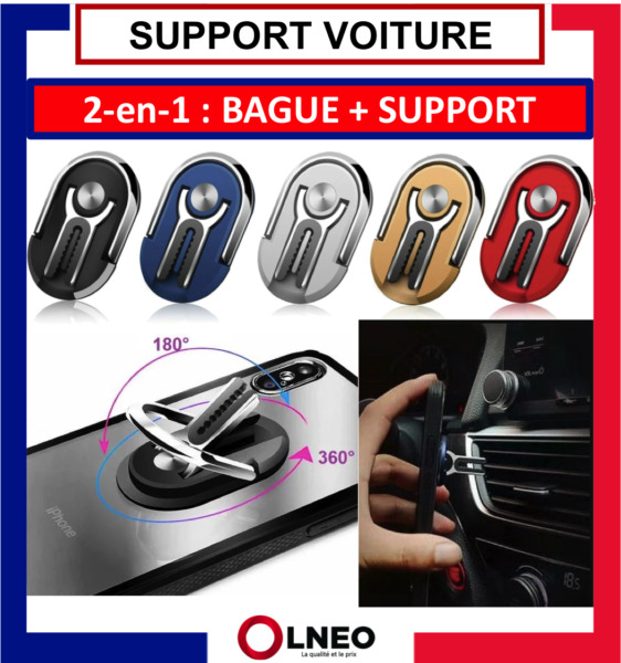 SUPPORT VOITURE TELEPHONE 360 BAGUE UNIVERSEL IPHONE SAMSUNG HUAWEI LG XIAOMI