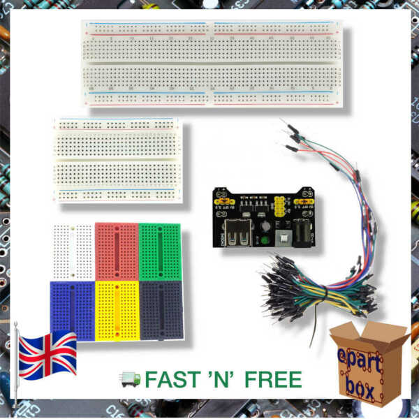Starter Kit Set MB-102 Solderless Breadboard + 3.3-5V Power Supply + 65pcs wires