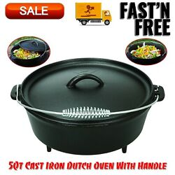 Kyпить 5 Qt Cast Iron Dutch Oven With Handle, Kitchen Home & Outdoors, Camping Cookware на еВаy.соm