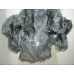 Frontgate GRAY FAUX FUR DOG PET JACKET JEWELED BUTTONS medium
