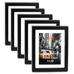 "Kyпить Cavepop 8x10"" Black Wood Textured Picture Frames - Set of 5 на еВаy.соm"