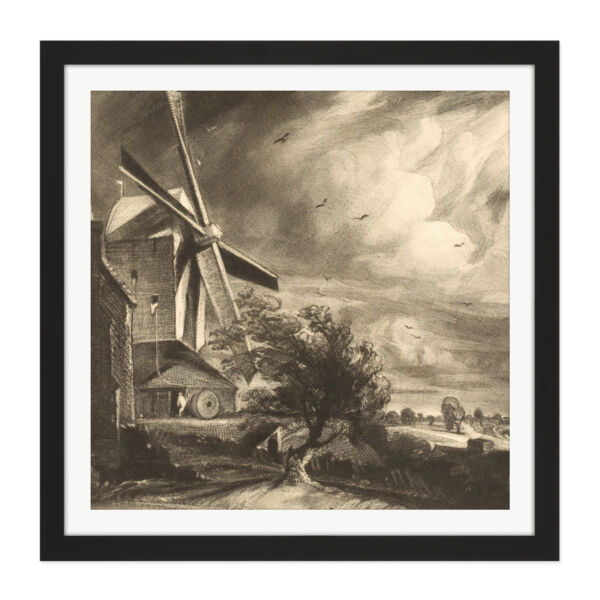 Royaume-UniDavid Lucas Mill Near  1846 Painting Square Framed Wall Art 16X16 In