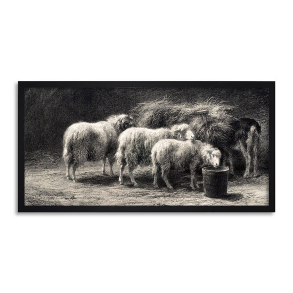 Royaume-UniBonheur  Sheep Pen Drawing Long Framed Wall Art 25X12 In