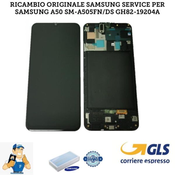 DISPLAY LCD + TOUCH SCREEN + FRAME SAMSUNG A50 2019 A505 SM-A505F ORIGINALE NERO