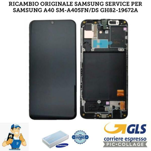 DISPLAY LCD SAMSUNG GALAXY A40 2019 A405 SM-A405FN  NERO ORIGINALE SERVICE PACK