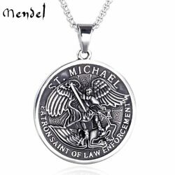 Kyпить MENDEL St Saint Michael Archangel Angel Medal Pendant Necklace Stainless Steel на еВаy.соm