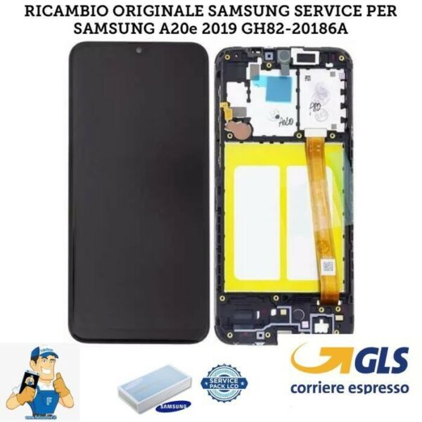 DISPLAY LCD + TOUCH SCREEN SCHERMO ORIGINALE SAMSUNG GALAXY A20E SM-A202F NERO