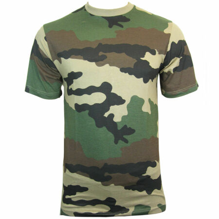 img-FRENCH ARMY STYLE COMBAT T SHIRT / TSHIRT CCE WOODLAND CAMO