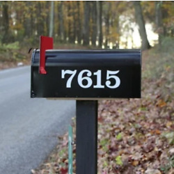 SET OF 2 Custom Mailbox Numbers Vinyl Decals / Stickers - Choose Size & Color