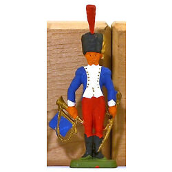 Cofalu Napoleonic French Horse Gd Trumpet - Painted Plastic Soldier mint 1960s