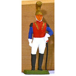 Cofalu Napoleonic Red and Blue Dragoon - Painted Plastic Toy Soldier mint 1960s