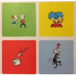 DR. SEUSS Cat in Hat wall stickers 4 panel decals  decor Kids Fish Things 1 2
