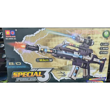 img-Combat 3 Army Commando Machine Gun Pistol With Lights and Sounds Kids Toy UK