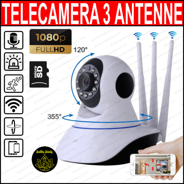 TELECAMERA 1080P HD WIRELESS INTERNA IP CAMERA MOTORIZZATA IR INFRAROSSI WIFI