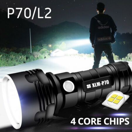 img-LED Torch Rechargeable Flashlight Tactical Camping Lamp Alloy One-Hand P70 L2
