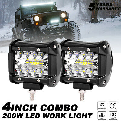 2X 4 Inch 200W CREE LED Work Light Bar Pods Flush Mount Combo Driving 12V Lamps