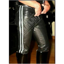 Mens Black Genuine Natural Cow Leather Motorcycle Pant Trousers Jeans Many Sizes